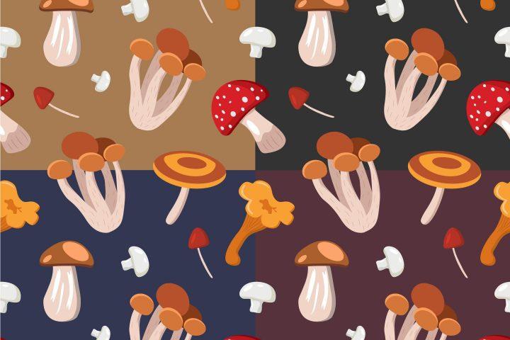 Mushrooms Vector Free Seamless Pattern