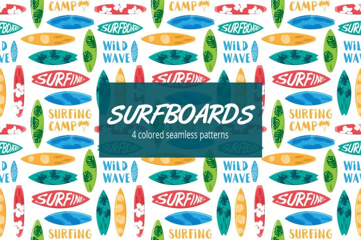 Surfboard Vector Free Seamless Pattern