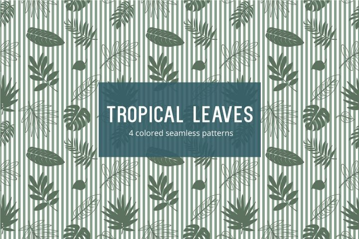 Tropical Leaves Vector Free Seamless Pattern