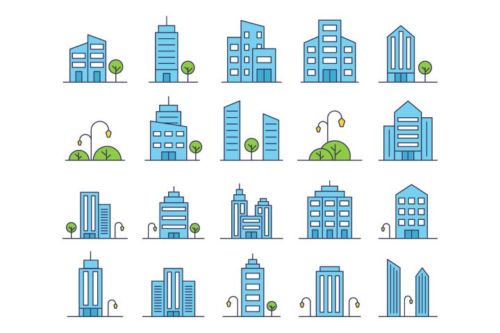 Buildings Vector Free Icon Set
