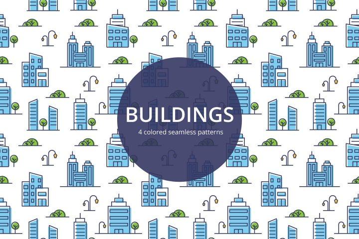 Buildings Vector Free Seamless Pattern