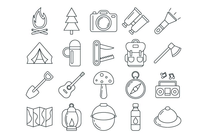 Camping Vector Free Icon Set