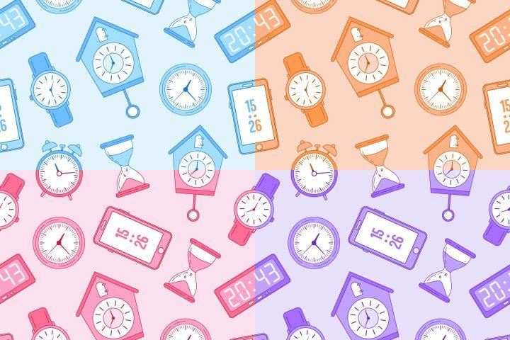 Clocks Vector Free Seamless Pattern