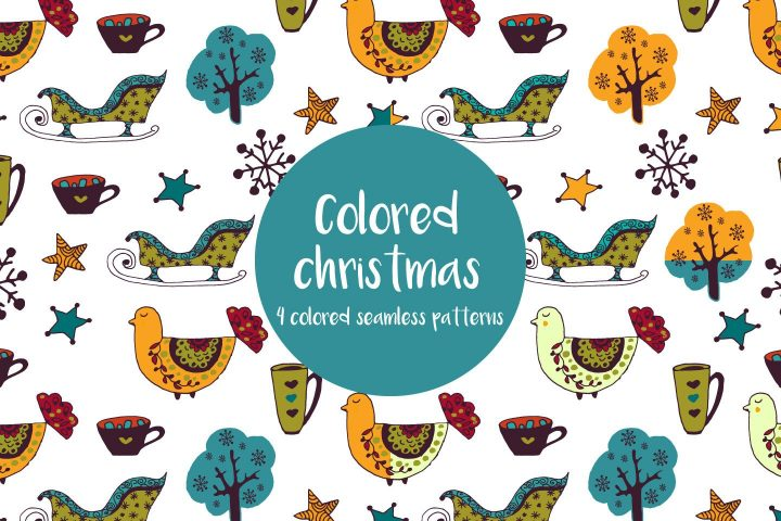Colored Christmas Illustration Vector Free Pattern