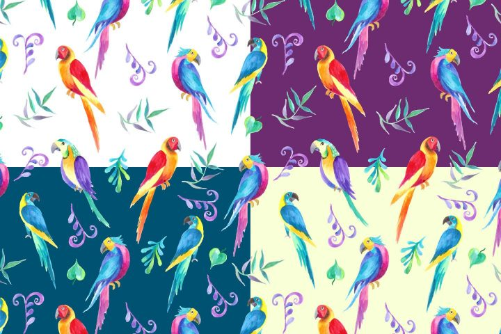 Colored Parrots Illustration Vector Free Pattern