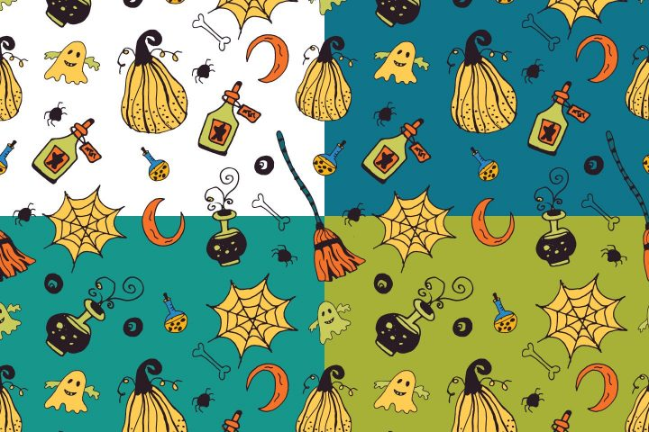 Halloween Party Illustration Vector Free Pattern