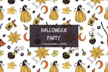 Halloween Party Illustration Vector Free Pattern