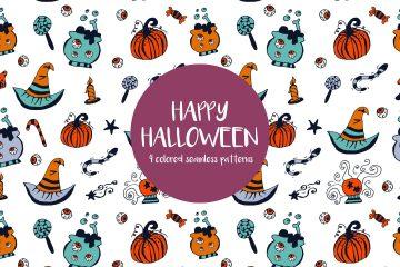 Happy Halloween Illustration Vector Free Pattern