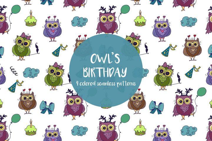 Owl's Birthday Illustration Vector Free Pattern