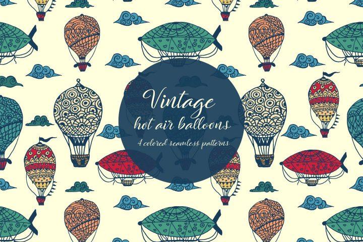 Vintage Hot Air Balloons Illustration Vector Free Pattern
