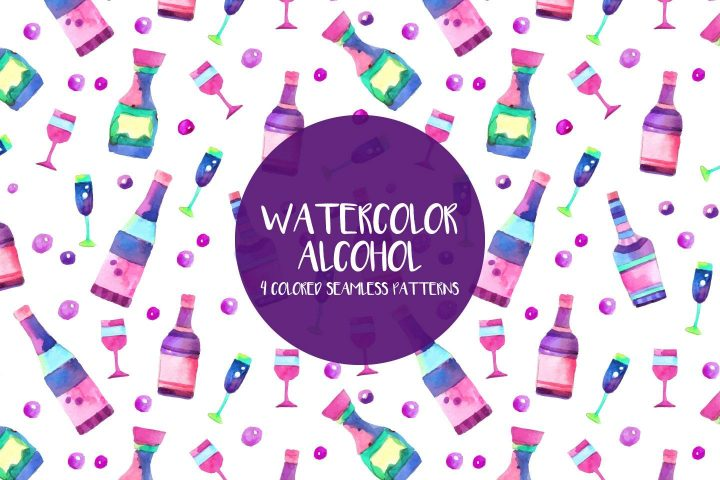 Watercolor Alcohol Illustration Vector Free Pattern