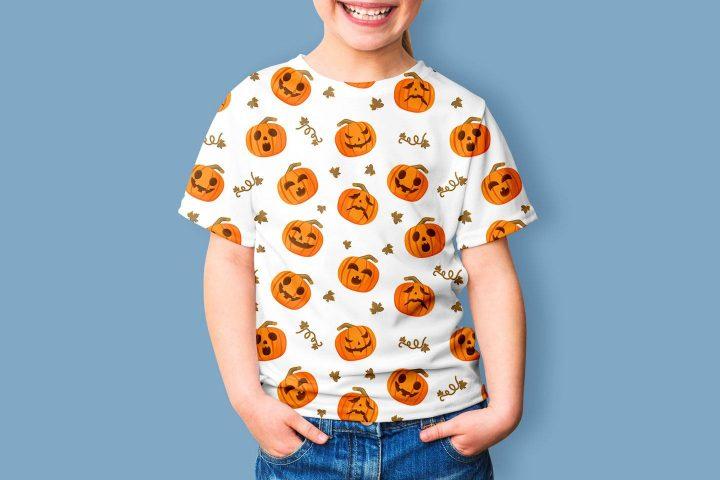 Halloween Pumpkins Vector Seamless Free Pattern