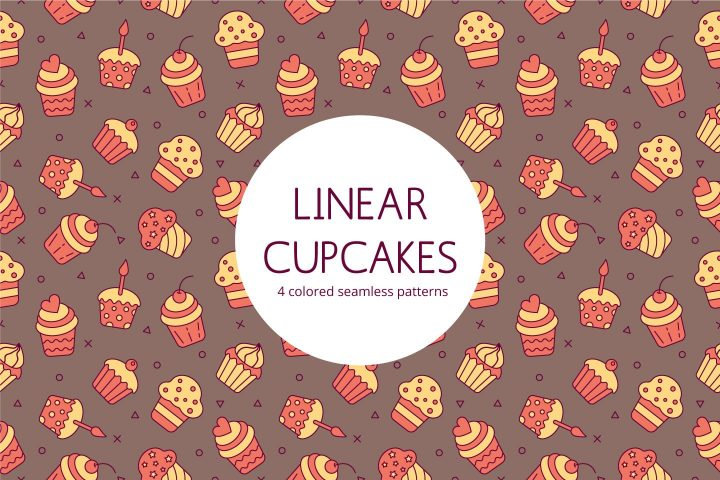 linear Cupcakes Vector Free Seamless Pattern