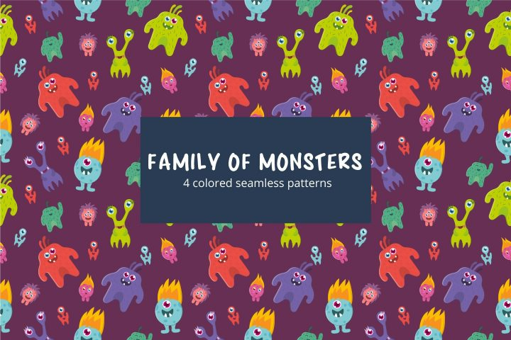 Monsters Family Vector Free Seamless Pattern