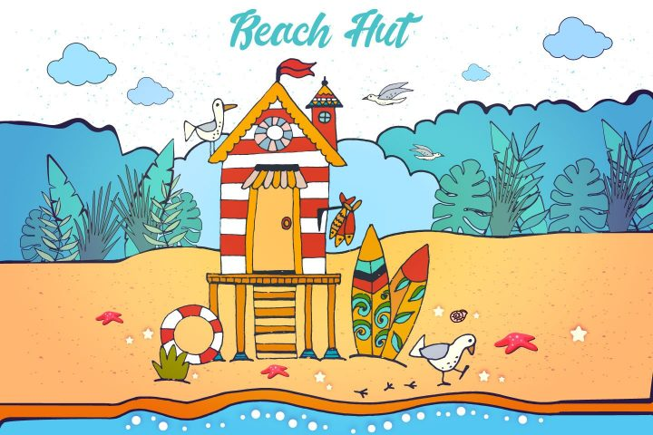 Beach Hut Free Vector Illustration