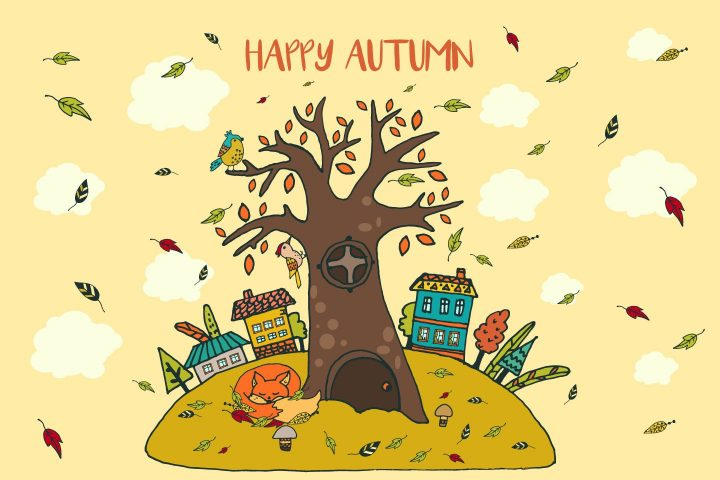 Happy Autumn Free Vector Illustration