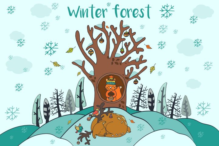 Winter Forest Free Vector Illustration