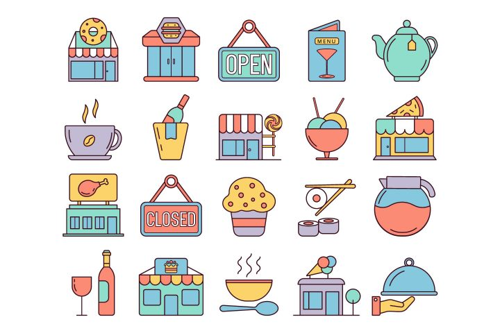 Restaurants and Cafes Vector Free Icon Set