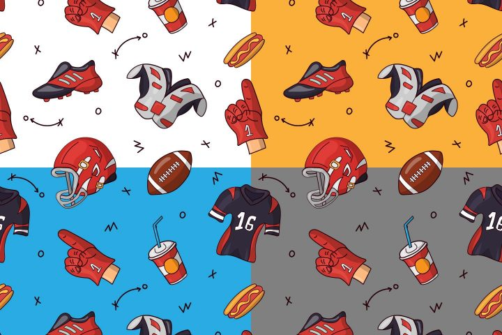 American Football Vector Free Pattern