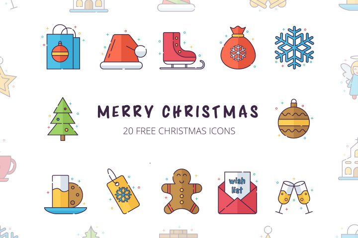 Merry Christmas Vector Free Icon Set