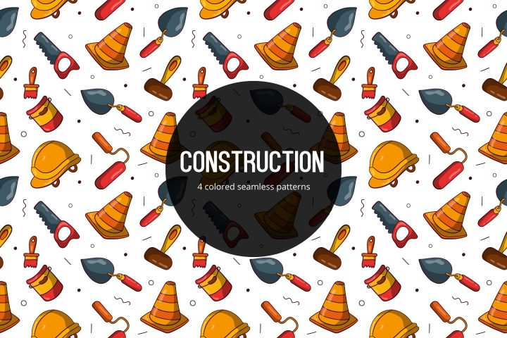 Construction Vector Free Seamless Pattern