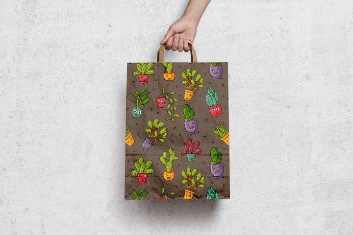 Cute Plants Vector Free Seamless Pattern