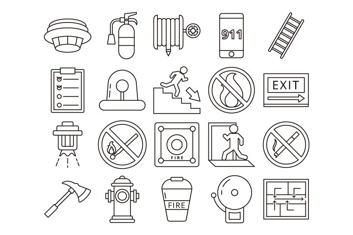 Fire Safety Vector Free Icon Set