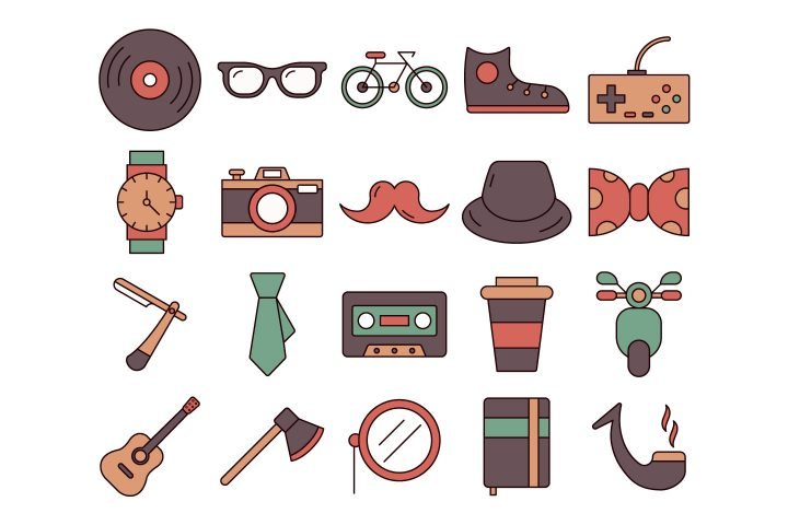 Hipster Vector Free Icon Set