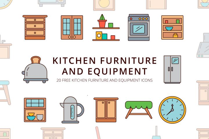 Kitchen Furniture and Equipment Vector Free Icon Set