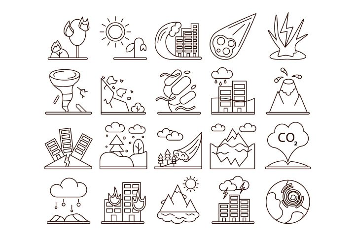 Natural Disasters Vector Free Icon Set