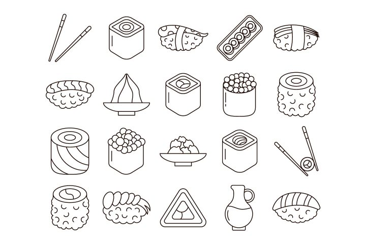 Sushi and Rolls Vector Free Icon Set