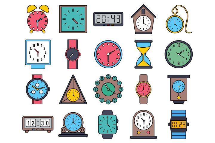 Clock Vector Free Icon Set