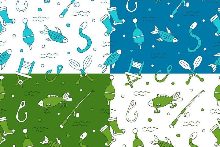Fishing Vector Free Seamless Pattern