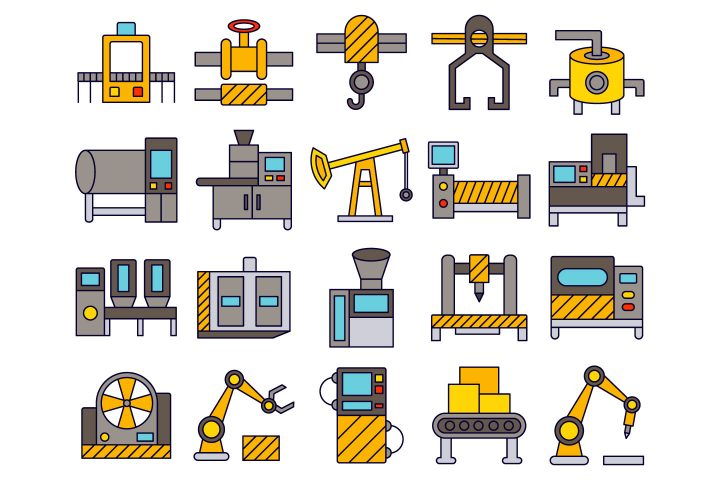 Industrial Equipment Vector Free Icon Set