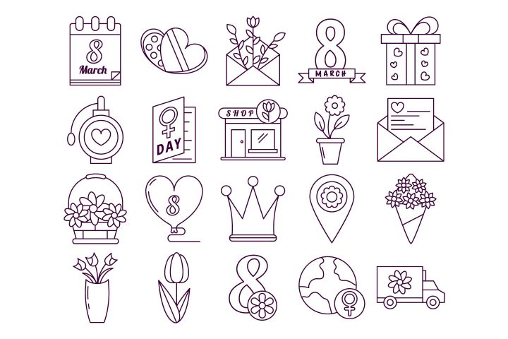 8 March Free Vector Icon Set