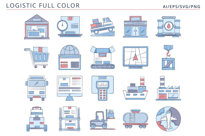 20 Free Logistics Icons AI, EPS, SVG, PNG Format