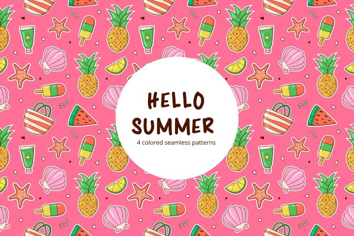 Hello Summer Vector Free Seamless Pattern