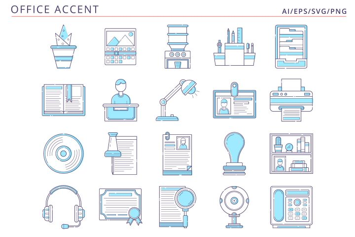 20 Office Icons Free Vector Art