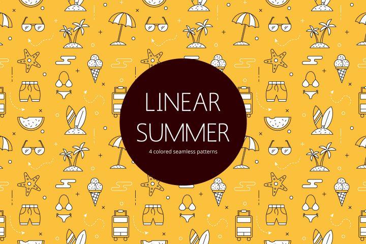 Summer Linear Vector Seamless Free Pattern