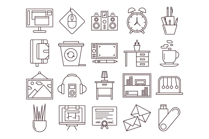 Workspace Vector Free Icon Set