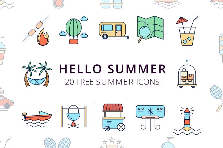 Hello Summer Vector Free Icon Set