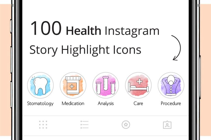 100 Health Instagram Story Highlight Icons