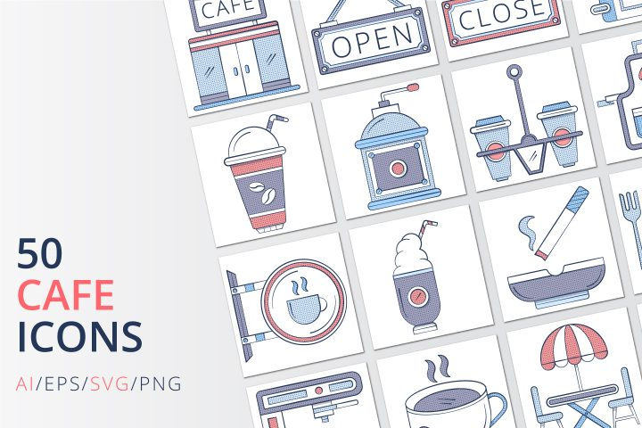 50 Cafe Icons (AI, EPS, SVG, PNG files)