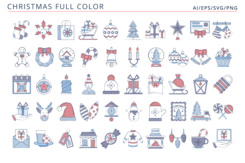 50 Christmas Icons (AI, EPS, SVG, PNG files)
