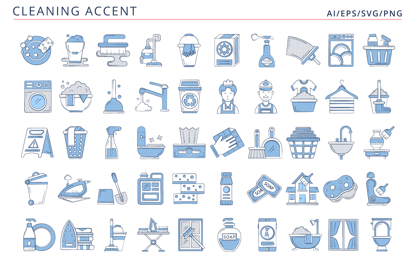 50 Cleaning Icons (AI, EPS, SVG, PNG files)