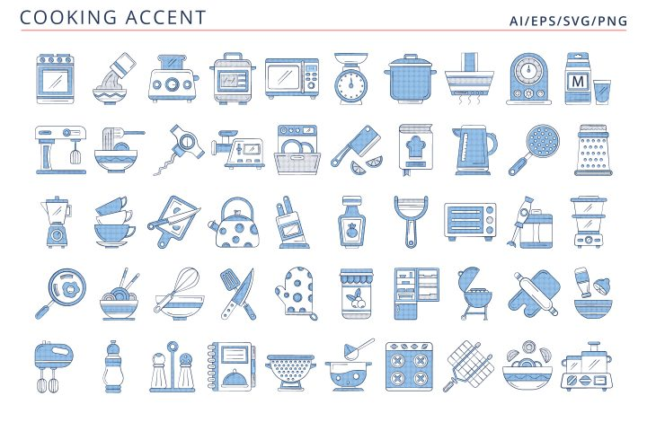 50 Cooking Icons (AI, EPS, SVG, PNG files)