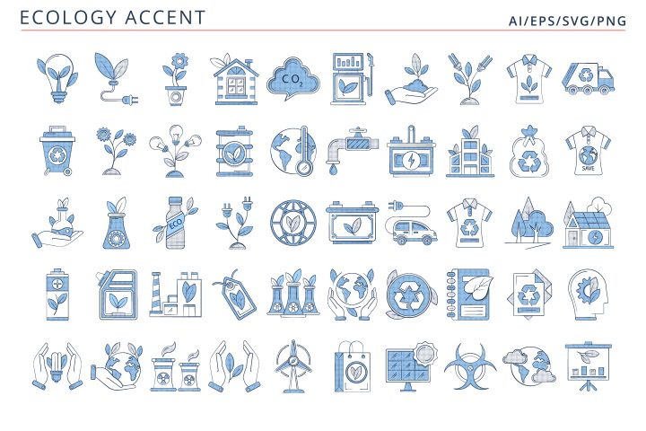 50 Ecology Icons (AI, EPS, SVG, PNG files)
