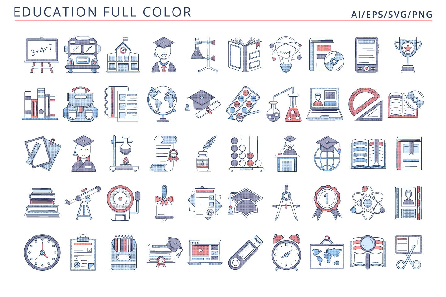 50 Education Icons (AI, EPS, SVG, PNG files)