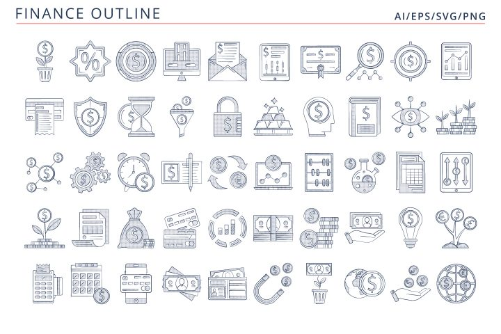 50 Finance Icons (AI, EPS, SVG, PNG files)