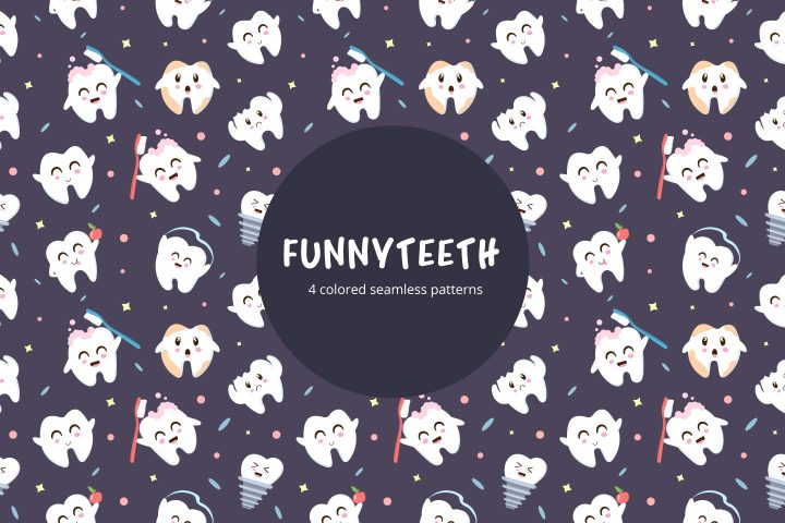 Funny Teeth Vector Free Seamless Pattern